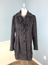 GUESS Purple Black Tweed Ruffle Wool Blend Coat Excellent L Large Ruffle