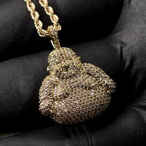 Mens Hip Hop Honey Comb Set Iced 5A Cz Buddha Pendant Rope Chain Necklace Set