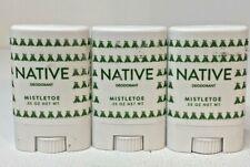 Lot of (3) Native Deodorant .35oz * Mistletoe * Natural * Trial Size * Gym Size