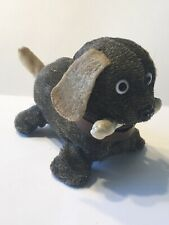 Vintage Fabric Covered Tin Toy Wind-up Walking Running Dog Bone In Mouth Japan