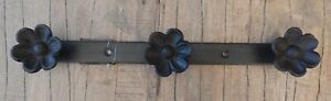 Cast iron 3 wall Flower hooks Hanger Rustic vintage style Triple hook UK seller