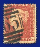 1874 SG43 1d Red Plate 176 MISPERF ML Good Used asgm