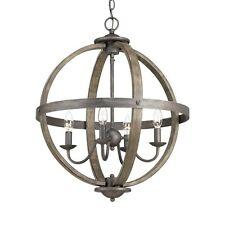 Progress Lighting Orb Chandelier Keowee Collection 4-Light Artisan Iron Elm Wood