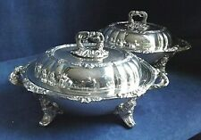 """SUPERB Rare PAIR Large 14"""" ~ Family CRESTED ~ SERVING DISHES on STANDS ~ c1830"""