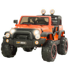 12V Ride On Jeep Car With Remote Control, 2 Speed,  LED Light, MP3 Orange