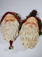Silvestri Christmas Santa ornament wall hanging vintage paper mache 7in set of 2