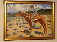 OUTSTANDING WPA ERA O/B NAVAJO on HORSEBACK PORTRAIT PAINTING by KUSIANOVICH 40s