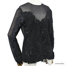 Stella McCartney Elegant Sheer Chiffon Black Rose Applique Silk Top IT40 UK8
