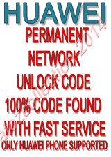 Unlock Code Huawei Ascend P6 Y300 P2 P1 D1 W1 D2 Y210 Y330 Y530 G500 Y201 Y550
