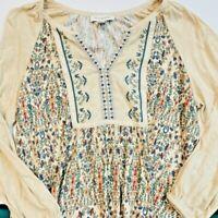Vintage America Boho Blouse Shirt Tunic top  Longsleeve Floral Medium EUC