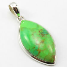 Solid Sterling Silver Green Copper Turquoise Necklace Pendant Discount Jewelry