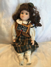 Collectible 12 Inch Porcelain Doll With Chalk Board Hanging From Her Neck
