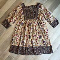 H&M 10 ANS FILLE / Robe Fleurie Manches Longues Coton TBE