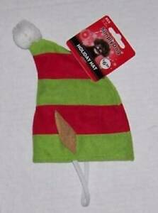 Pet Holiday Striped Elf Hat with ears Med / Large Red Green Pom dog cat