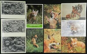 Fox Postcards, Foreign, Russian, Vintage Lot of 10