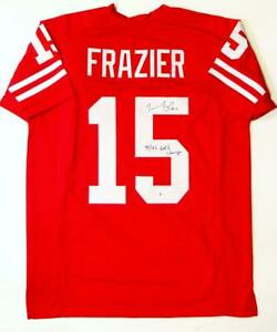 Tommie Frazier Signed Red College Style Jersey w/ Nat'l Champs - Beckett W Auth