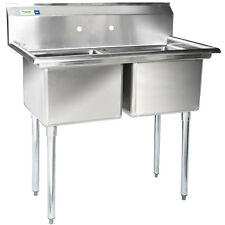 """41"""" 2-Compartment Stainless Steel Commercial Sink without Drainboards"""