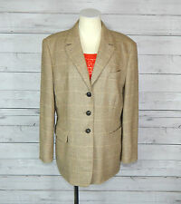 LORO PIANA women's ITALY WINDSOR beige tweed with cashmere blazer jacket SIZE 44