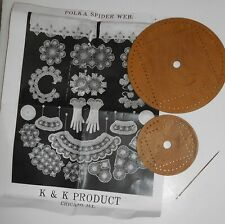K&K Products Polka Spider Web Lace Making Tool Set 2 Wheels Needle &Instructions