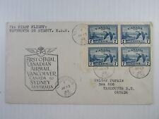 1949 Canada cacheted FFC Vancouver - Sydney #C9a pane CDS GPO Sydney Air F-VF