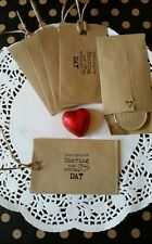 10 x VINTAGE RUSTIC WEDDING FAVOUR/THANK YOU ENVELOPES SMALL/BROWN/HANDCRAFTED/