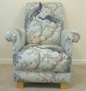 Armchair Laura Ashley Belvedere Fabric Adult Chair Peacocks Birds Duck Egg Blue