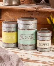 Set of 3 Metal Rustic Country Primitive Farmhouse Lodge Cabin Canister Set
