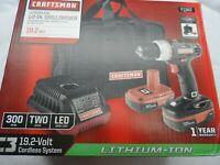 "Craftsman 5725.1 1/2"" Drive C3 19.2V Li-lon Drill/Driver Kit - Part # 1347"