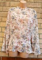 G21 PALE PINK FLORAL SPOTTED RUFFLE FRILL HEM FLARE LONG SLEEVE TOP BLOUSE 10 S