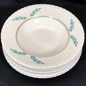 """5 Coronation Hanover China Rim Soup Bowls 1950s 8"""" Dia Green Leaf Gold Dots"""