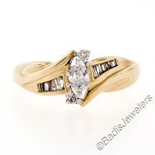 10k Yellow Gold .44ctw Marquise Cut Diamond Solitaire Engagement Ring w/ Accents