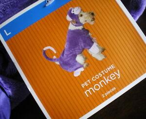 MONKEY Dog COSTUME L 2pc NEW LARGE Pet FURRY PURPLE APE NWT