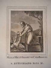 Santo Eutichiano Papa religione stampa originale 1840