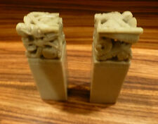 "Vintage set of two carved sandstone chinese seals-large 5"" tall [Y8-W6-A9]"