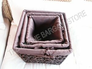 3 Jute Seagrass Woven Storage Home Decor Basket Baskets & Liner Dark Brown