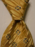 ERMENEGILDO ZEGNA Men's 100% Silk Necktie ITALY Luxury Geometric Yellow/Blue EUC