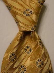 ERMENEGILDO ZEGNA Men's 100% Silk Necktie ITALY Luxury Geometric Yellow/Blue EUC