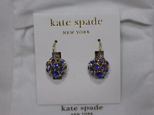 Kate Spade Blue Crystal Blue/Gold Plated Ball Drop Earrings NWT $95 REDUCED
