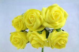 1 Bunch = 6 Stems Of Foam Roses Artifical Wedding Flower Bouquets Or Buttonholes