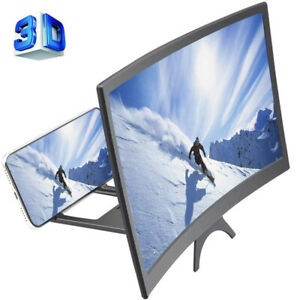"12"" Curved Screen Phone Magnifier 3D HD Video Movies Amplifier Holder Projector"