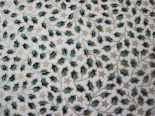 Christmas Fabric Per Metre Holly Xmas Red Green Cream Craft Festive Advent Noel