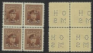 Scott O250 Position A: 2c KGVI War Issue block with TYPE 2 4-Hole OHMS Perfin NH