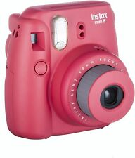 Fujifilm Instax Mini 8 Instant Film Print Polaroid Camera - Raspberry Red Color