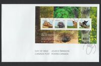 BABY ANIMALS WILDLIFE = Souvenir Sheet of 4 stamps FDC, OFDC Canada 2013