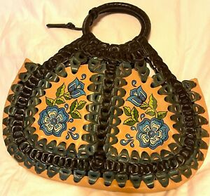 ISABELLA FIORE, ANTHROPOLOGIE, LEATHER FLORAL HOBO BOHO PURSE, NWOT