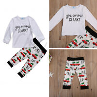 Soft Casual Infant Kid Baby Boy Girl Clothes T-shirt Tops+ Car Pants Outfits Set