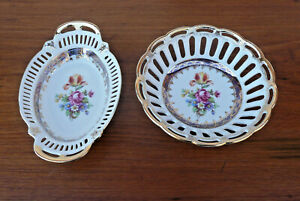 2 Dresden Reticulated China Trinket Candy Dishes Flower Bouquet Pattern Germany