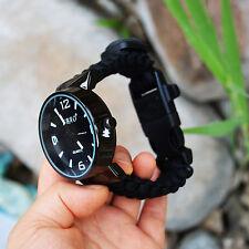 Survival Kit Paracord Bracelet Watch Compass Whistle Flint Fire Starter Scraper