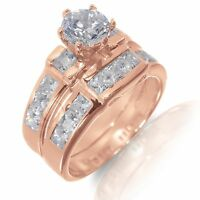 14k Rose Gold Plated Brilliant Cut / Princess Cut CZ Engagement Silver Ring Set