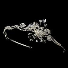 CLOSEOUT Price! Silver Floral Swarovski Crystal Bead Rhinestone Bridal Headband